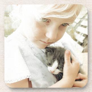 Girl and Kitten Beverage Coaster