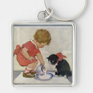 Girl and Kitten, Jessie Willcox Smith Keychain