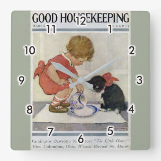 Girl and Kitten, Jessie Willcox Smith Square Wall Clock