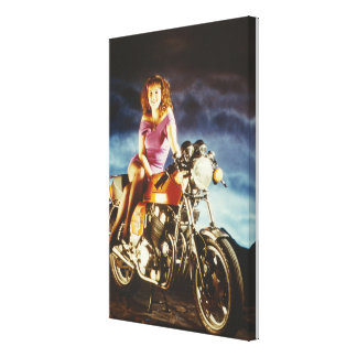 Girl And Motorcycle Canvas Canvas Prints