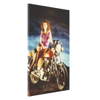 Girl And Motorcycle Large Canvas Gallery Wrapped Canvas