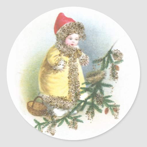 Girl and Nest Vintage Christmas Classic Round Sticker