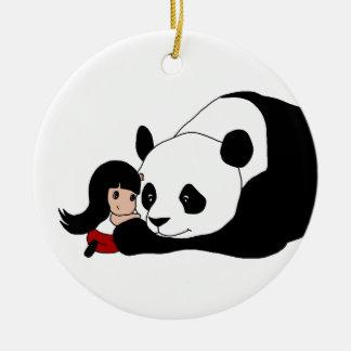 Girl and Panda Ceramic Ornament