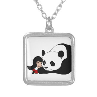 Girl and Panda Silver Plated Necklace