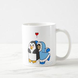 Girl and Penguin Kiss Coffee Mug
