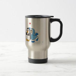 Girl and Penguin Kiss Travel Mug