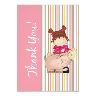 Girl and Pig Flat Thank You Card