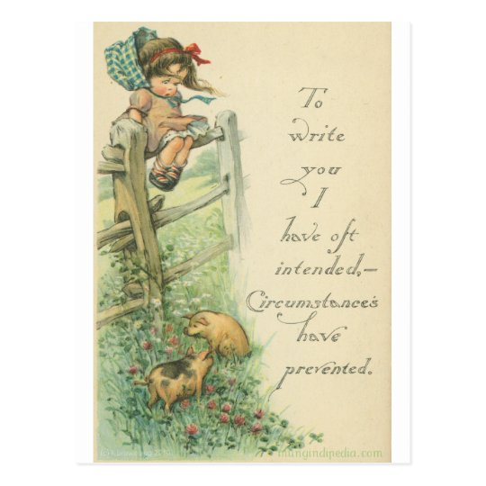 girl and pigs with excuse postcard
