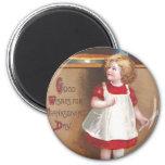 Girl and Pumpkin Pies Vintage Thanksgiving Refrigerator Magnet