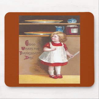 Girl and Pumpkin Pies Vintage Thanksgiving Mousepads