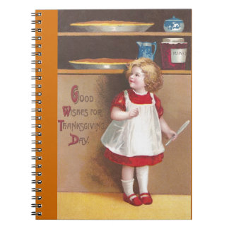 Girl and Pumpkin Pies Vintage Thanksgiving Notebook