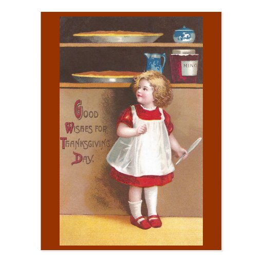 Girl and Pumpkin Pies Vintage Thanksgiving Postcards