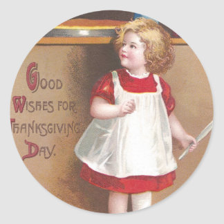 Girl and Pumpkin Pies Vintage Thanksgiving Round Stickers