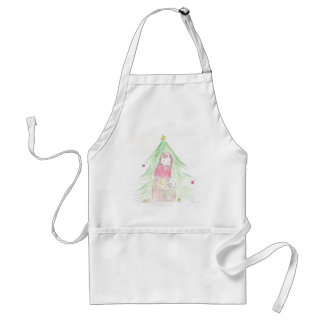Girl and Puppies on Christmas Morning Adult Apron