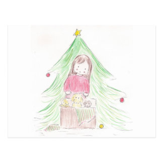 Girl and Puppies on Christmas Morning Postcard