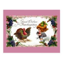 Girl and Puppy Greet Turkey Vintage Thanksgiving Postcard