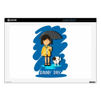 """Girl and puppy in the rain 17"""" laptop decal"""