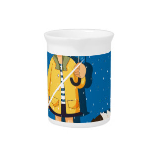 Girl and puppy in the rain drink pitcher