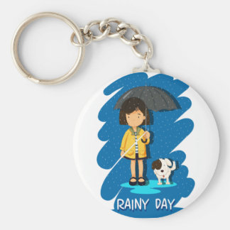 Girl and puppy in the rain keychain