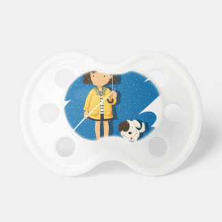 Girl and puppy in the rain pacifier