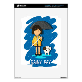 Girl and puppy in the rain skins for iPad 3