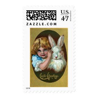 Girl and Rabbit Play Peekaboo Vintage Easter Postage Stamp