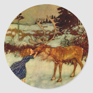 Girl and Reindeer Classic Round Sticker