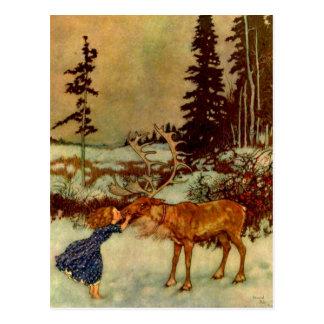 Girl and Reindeer Postcard