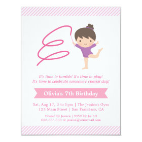 Girl and Ribbon Gymnastics Kids Birthday Party 4.25x5.5 Paper Invitation Card