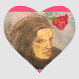 girl and rose heart sticker