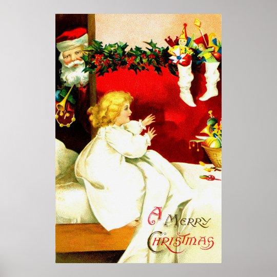 Girl and Santa on Christmas Eve Poster