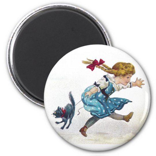 Girl and Scared Cat Run From Jack O'Lantern Magnet
