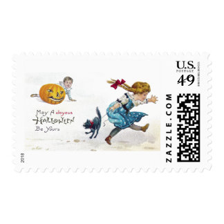 Girl and Scared Cat Run From Jack O'Lantern Postage