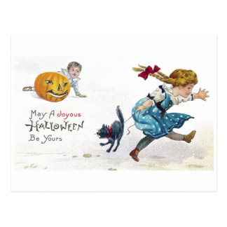 Girl and Scared Cat Run From Jack O'Lantern Postcard