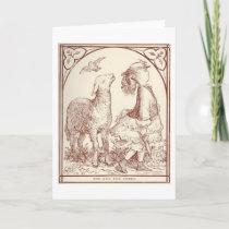 Girl and Sheep, Greeting Card