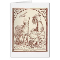 Girl and Sheep, Greeting Card