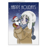 Girl and Snowman Holiday Greeting Card