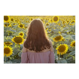 Girl and Sunflowers Poster