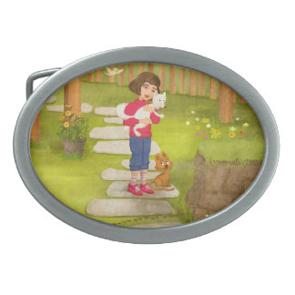 Girl and the funny Doggy Belt Buckle
