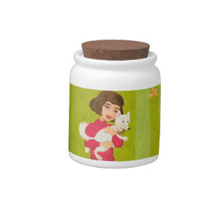 Girl and the funny Doggy candyjar Candy Jars
