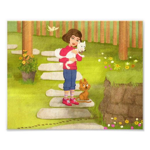 Girl and the funny Doggy Photo Enlargement