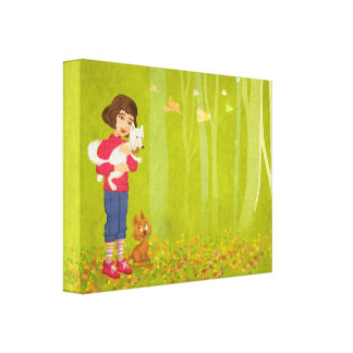 Girl and the funny Doggy Stretched Canvas Print