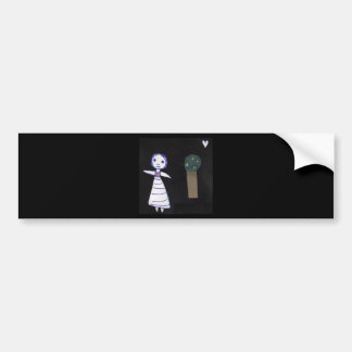 Girl and tree bumper sticker