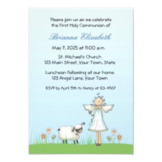 Girl Angel and Lamb, Blue, First Communion 5x7 Paper Invitation Card