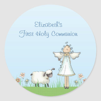 Girl Angel and Lamb, Blue, First Communion Classic Round Sticker
