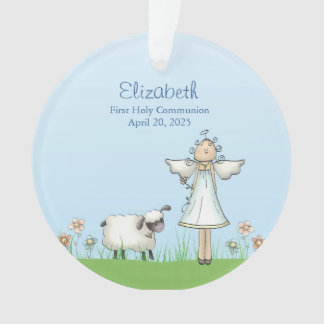 Girl Angel and Lamb, Blue, First Communion Ornament