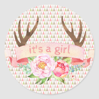 Girl Antler Its A Girl Tribal Baby Shower Stickers