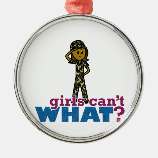 Girl Army Recruit Metal Ornament