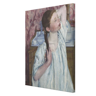 Girl Arranging Her Hair, 1886 (oil on canvas) Canvas Print