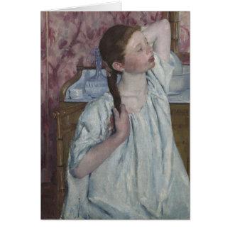 Girl Arranging Her Hair, 1886 (oil on canvas) Card